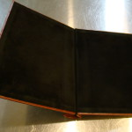 Custom Leather Springback Manuscript Binder - Black suede inside