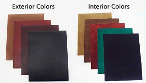 Custom Leather Springback Manuscript Binders - Exterior leather and interior suede colors