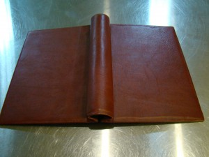 Tobacco Leather Springback Manuscript Binder - Outside