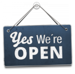 """""""Yes, we're open"""" sign"""