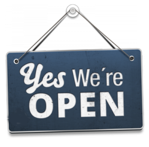 """Yes, we're open"" sign"