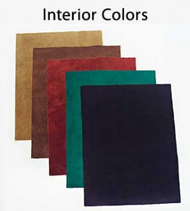 Colors available for the suede interior of our Custom Engraved Leather Springback Binders